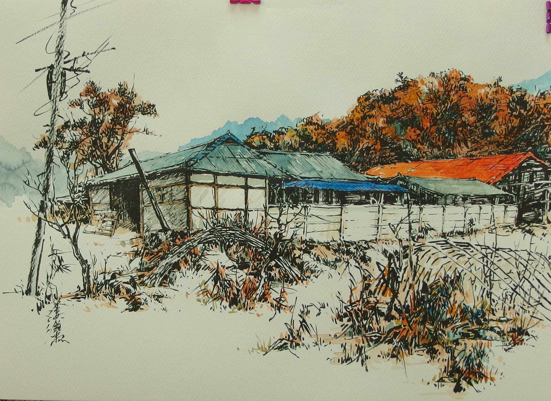 brush painting, 강전충(kang. c. c), korea painting, 붓펜화