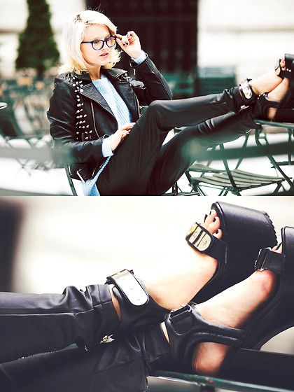 Warby Parker  Blue Frames, Unif Stud Jacket, Nasty Gal Leather Pants, Unif Hell Platforms
