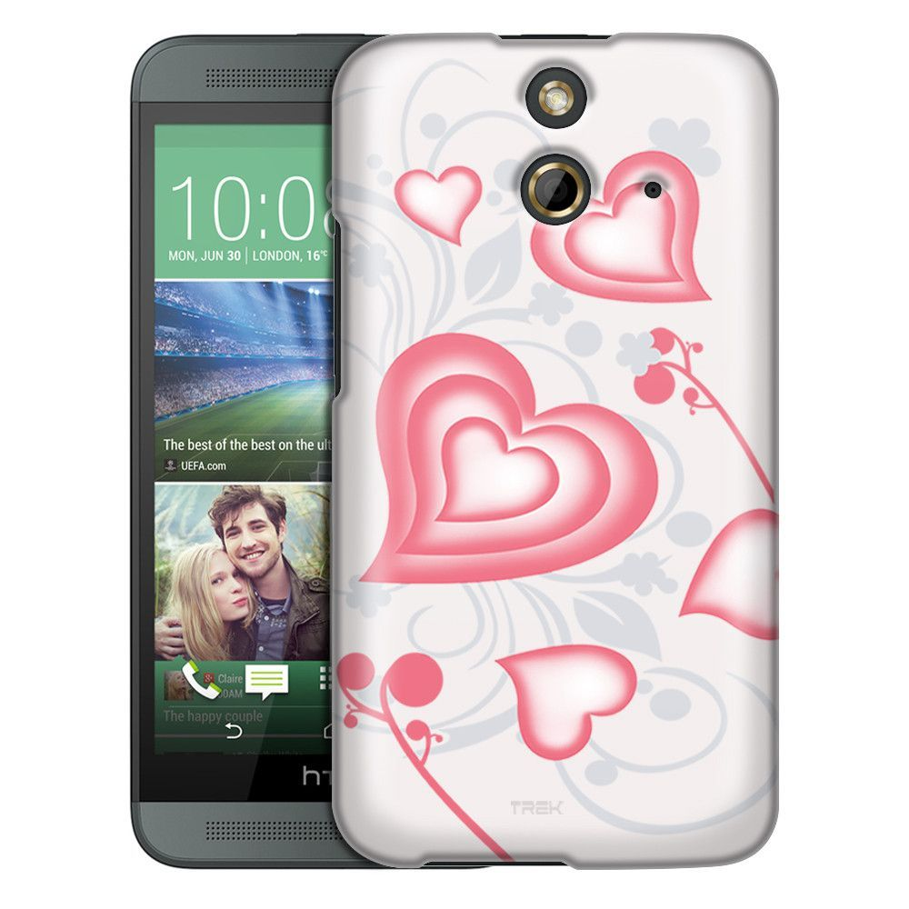 HTC One E8 Brave Heart Red on White Slim Case