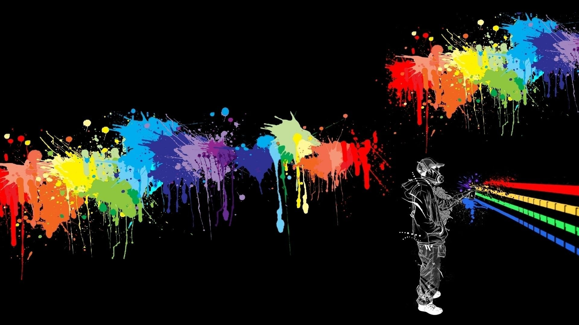 Abstract Cool Graffiti Wallpaper With Splach Paint Color