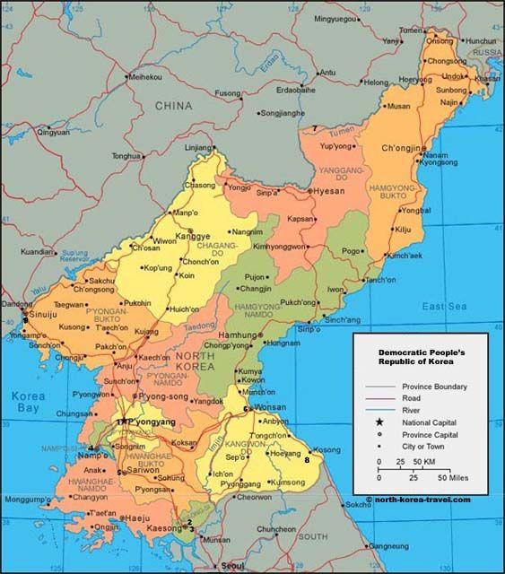 Mapa De Corea Del Norte Informacia N Y Viajes A La Repaºblica