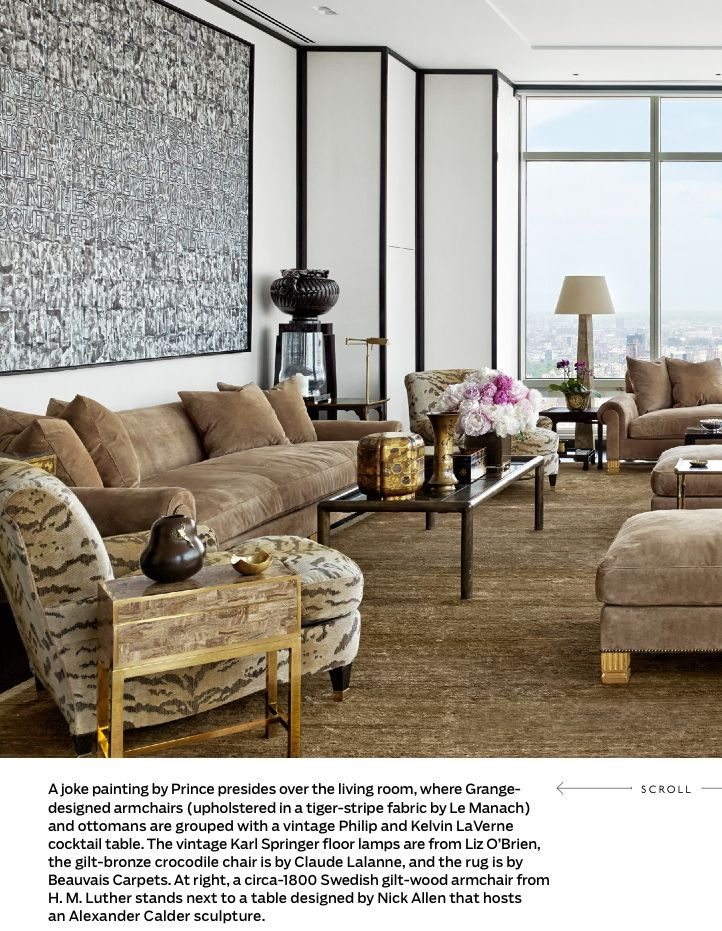 New York Living Room Of Giancarlo Giammetti Jacques Grange Chairs In Tiger  Stripes Fabric From Le
