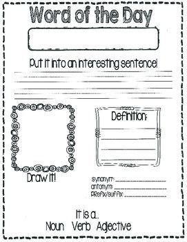 Word Of The Day Word Of The Day Words Morning Work Activities Word of the day worksheet