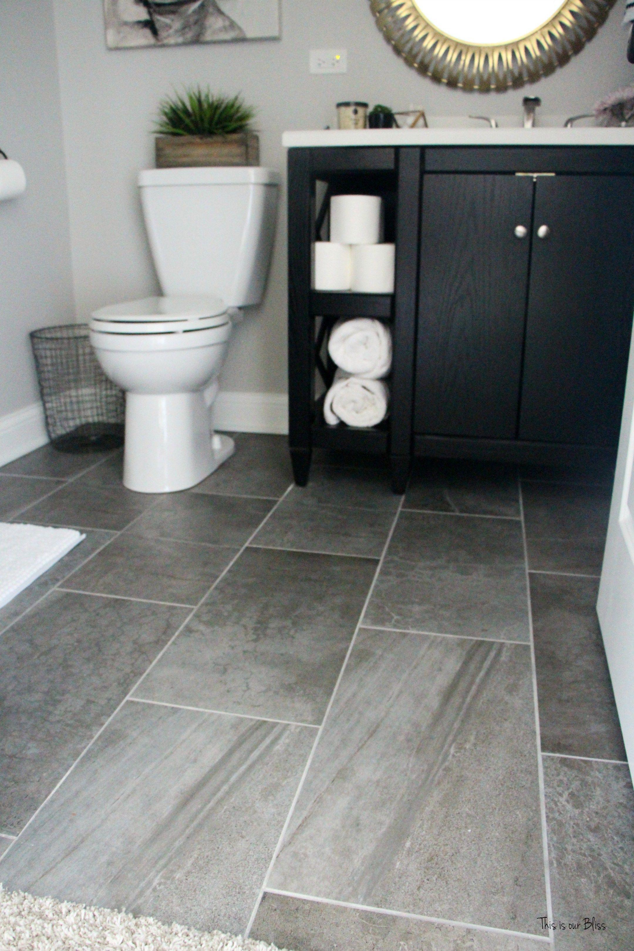 Basement Bathroom Reveal Gray Porcelain Tile Floor Black