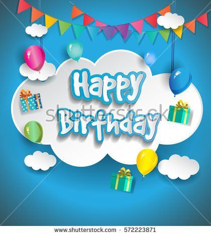 Happy birthday vector design for greeting cards with balloon and happy birthday vector design for greeting cards with balloon and gift box isolated with clouds stopboris Gallery