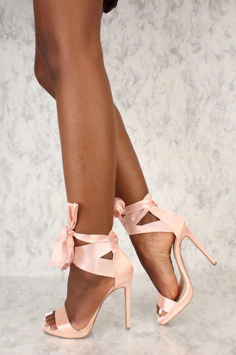 0d9f768a0f Sexy Nude Satin Strappy Lace Tie Open Toe Single Sole High Heels in ...