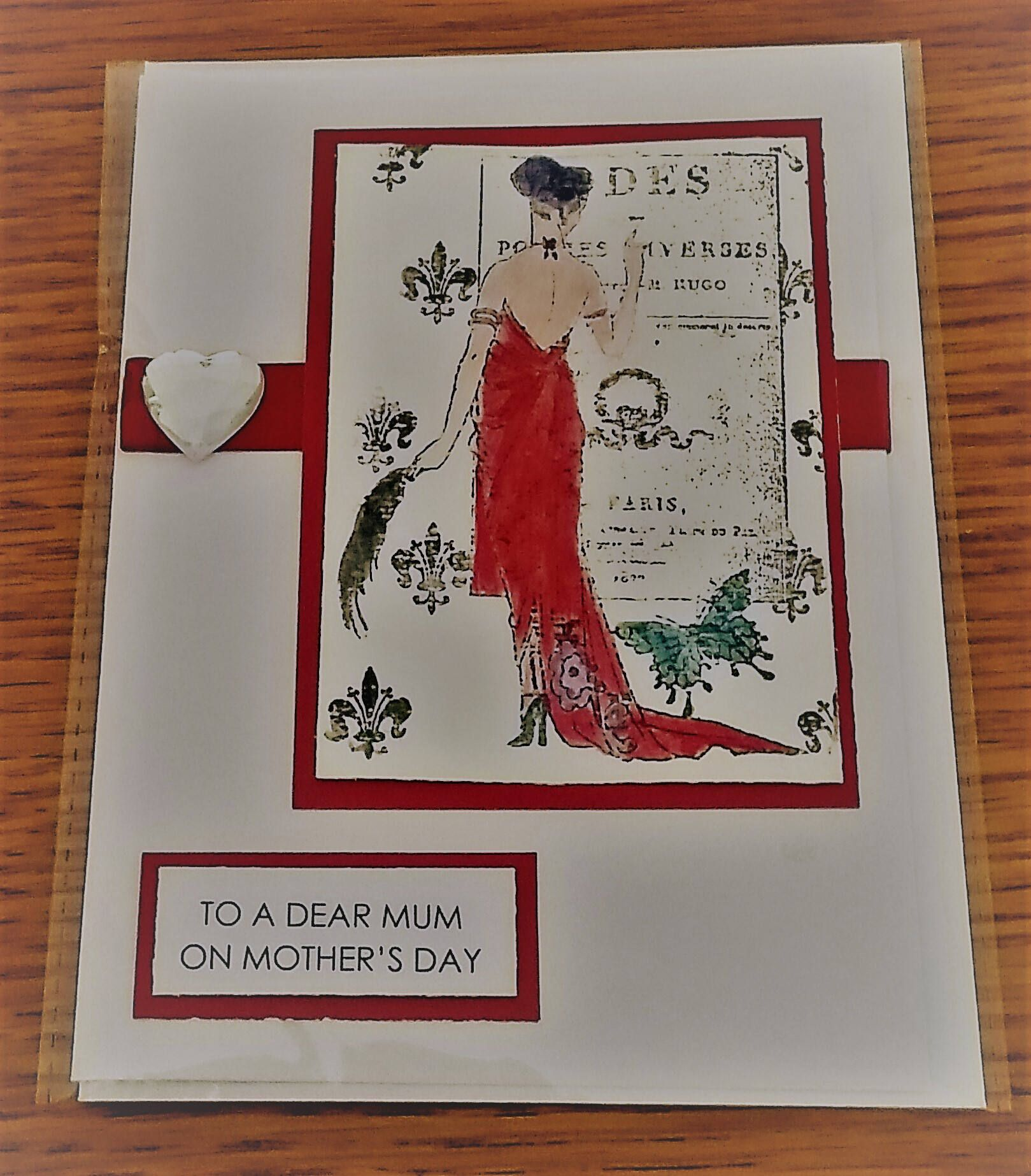 """Mother's Day Card 7"""" x 5"""" hand painted - Art Deco by Prettythings20 on Etsy"""