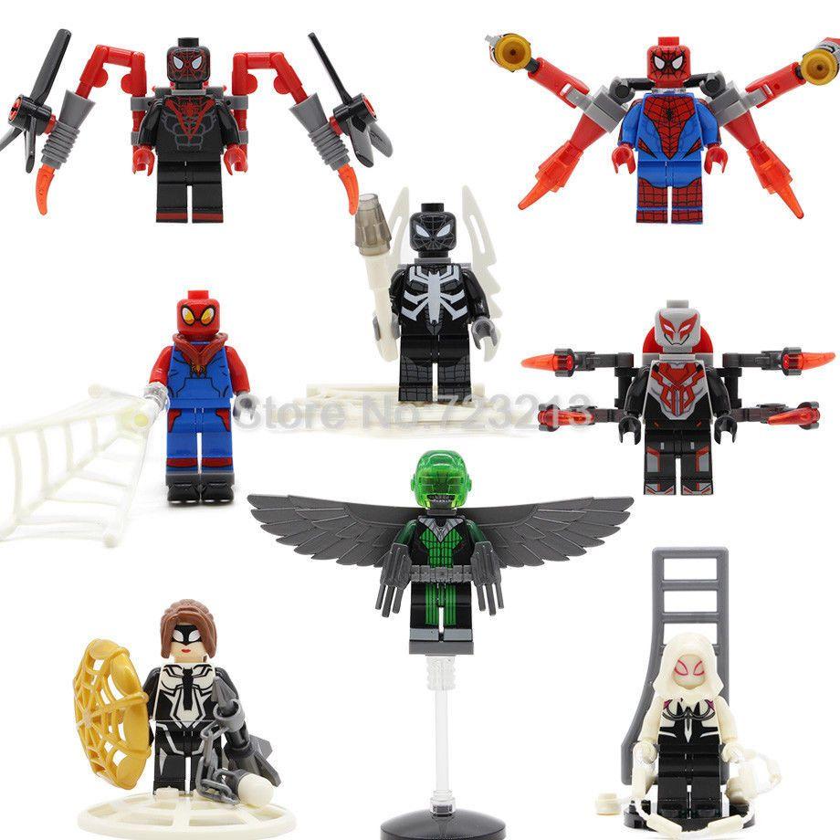 New 8pcs Super Hero Iron Spider Man Gwen Figure Set Venom Marvel ...
