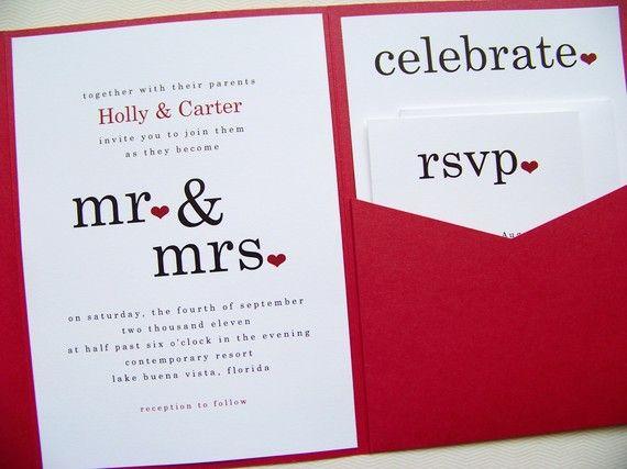 Mr and Mrs Wedding Invitations Pocketfold Invitations Pocket Fold