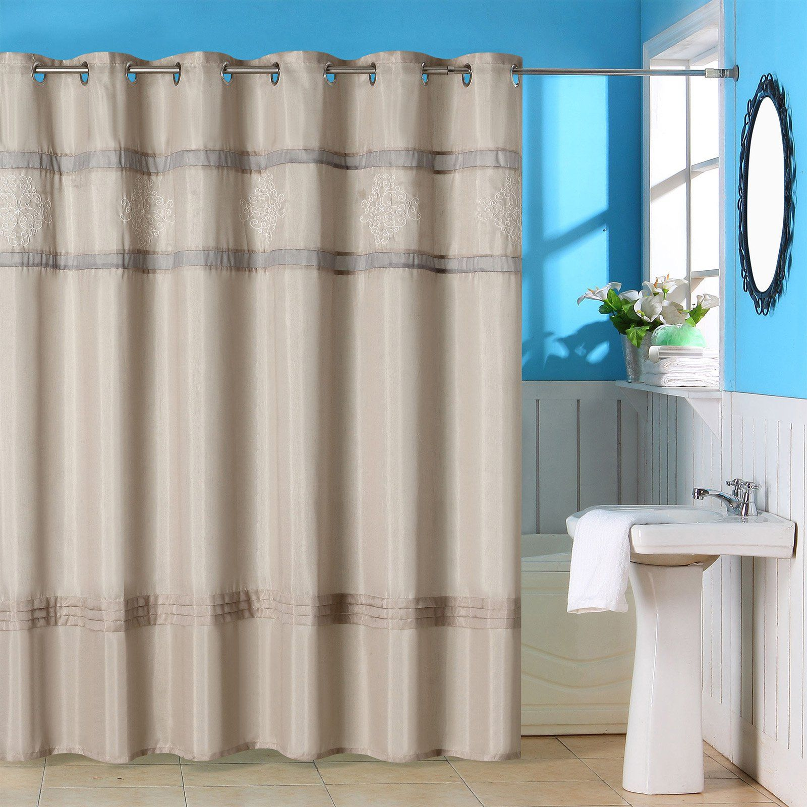 Lavish Home Radcliff Embroidered Grommet Style Shower Curtain