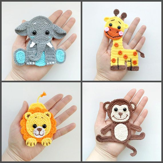 Motif Jungle Animal Applique Crochet modèles PDF éléphant girafe Lion singe Crochet Appliques Zoo animaux Motif bébé couverture cadeau ENG   – Handarbeit