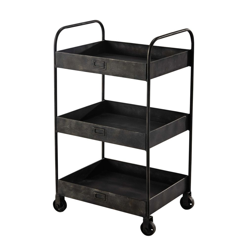 black metal trolley w49 home d cor chariot a roulette. Black Bedroom Furniture Sets. Home Design Ideas