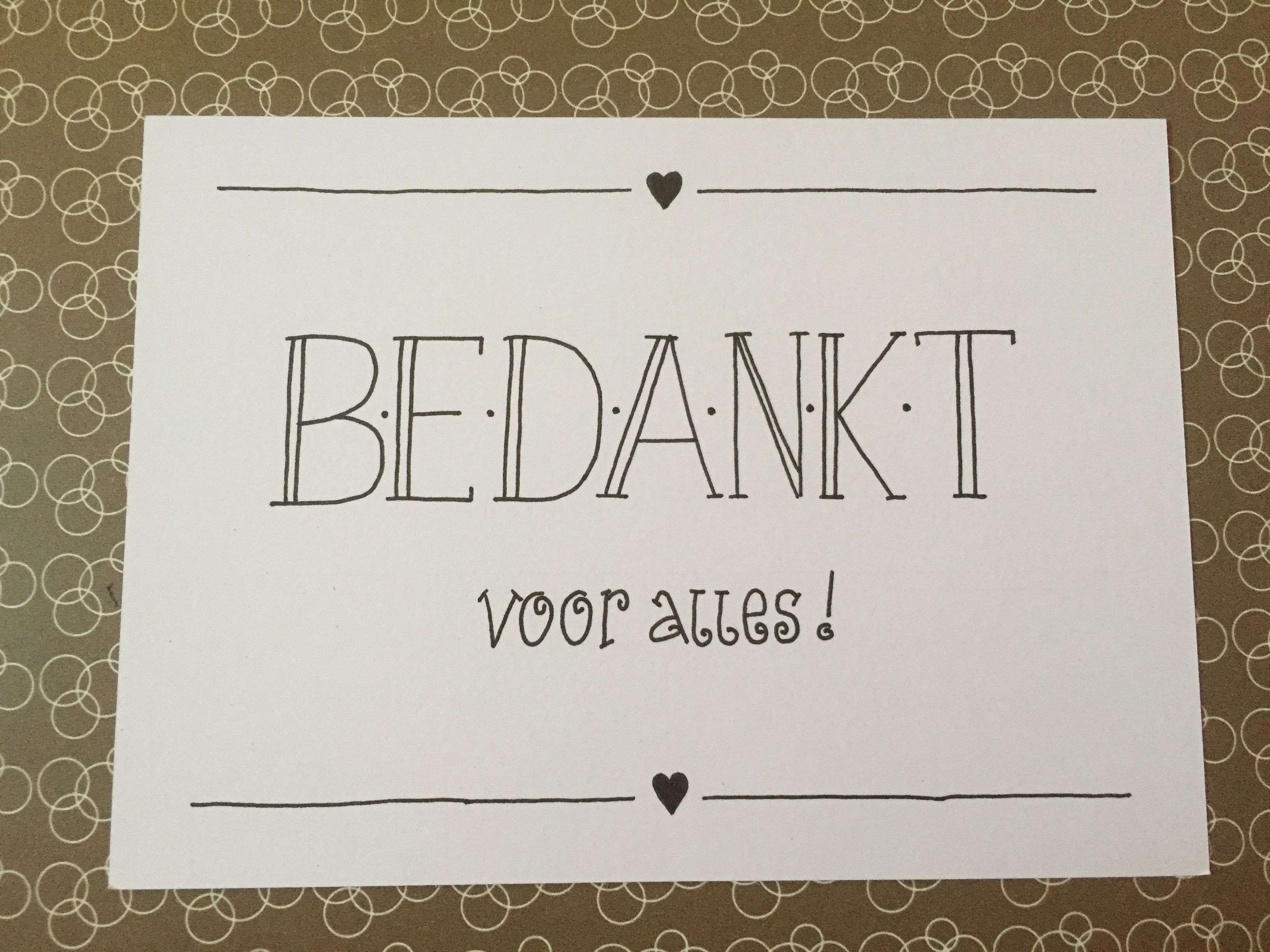 Bekend Handlettering kaart met bedankt voor alles! | Lettering  @RG69