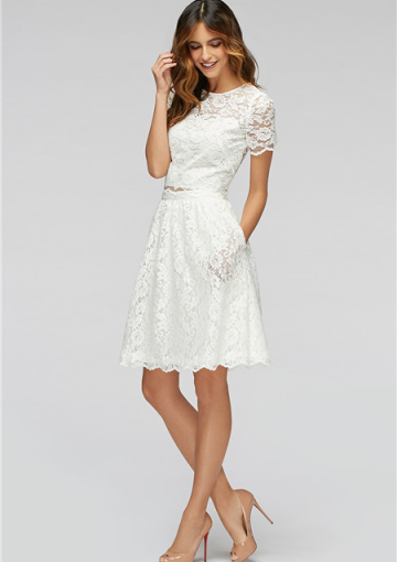 Jewel White Short Sleeves Lace Pocket Knee Length A Line Bridesmaid Wedding Pa Black Bridesmaid Dresses White Bridesmaid Dresses Bridesmaid Dresses Australia