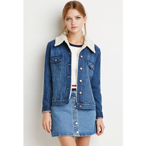 Forever 21 Women's Faux Shearling Denim Jacket ($40) liked ...