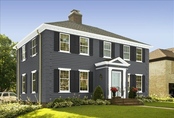 Benjamin Moore Ambler Slate House Black Shutters Palladian Blue Door Design House Color