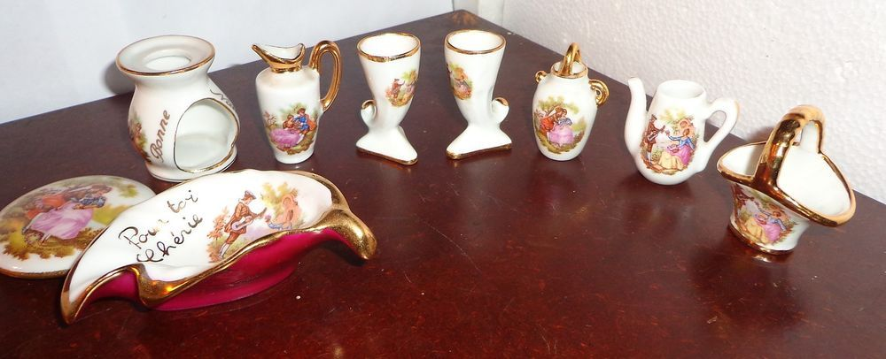 Limoges Set of 9 Miniture Pieces--Water Pitcher, Horns of Plenty and much more