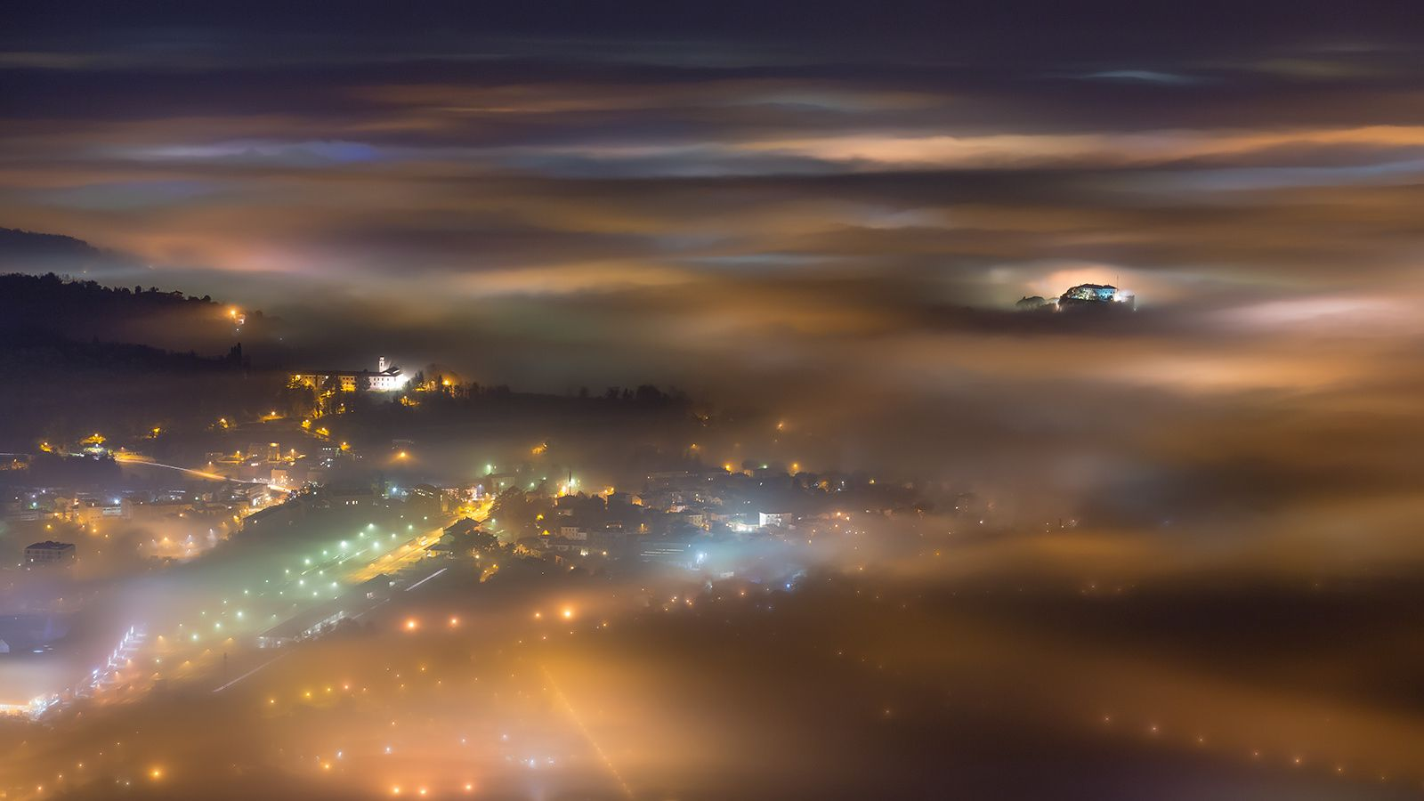 Fog Border - Photo of Nova Gorica (Slovenia) and Gorizia (Italy) was taken from mount Sabotin during inversion when temperatures were inverted reaching -5°C on city level (cca 150m above sea level) and reaching +15°C on mountain level (altitude cca 600m above sea level).
