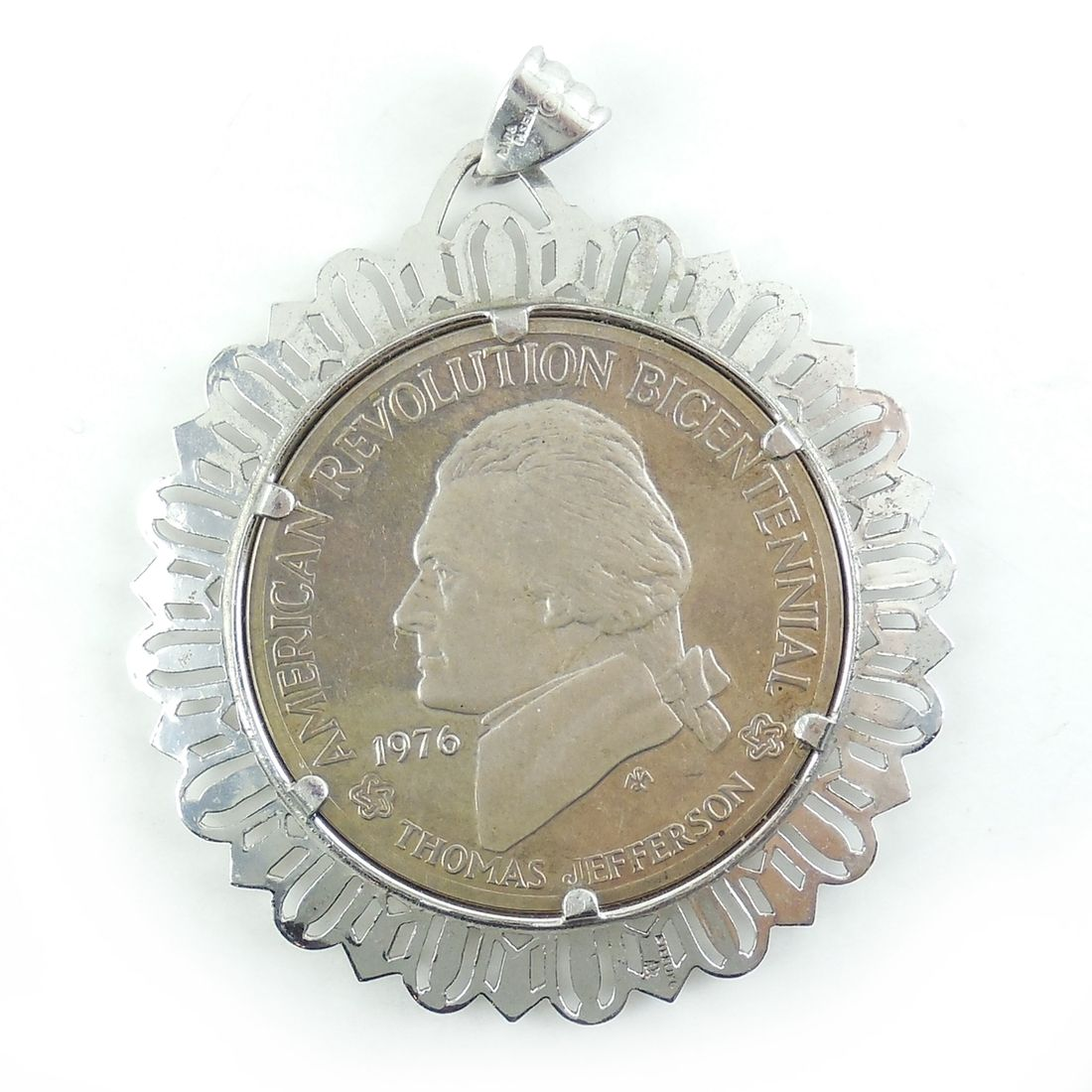 Vintage 1976 American Bicentennial Sterling Silver Coin Pendant. Find this item at Regalities.com, or click this link to view the item: http://regalities.com/product/vintage-1976-bicentennial-sterling-silver-big-heavy-coin-pendant/