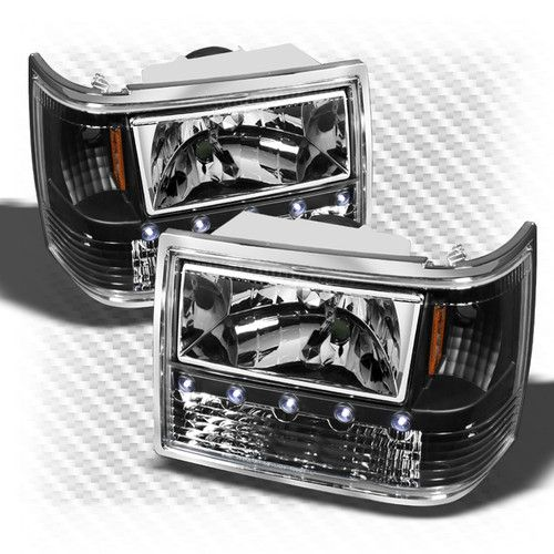 93 98 Jeep Grand Cherokee 3in1 Bumper Corner Led Headlights Blk