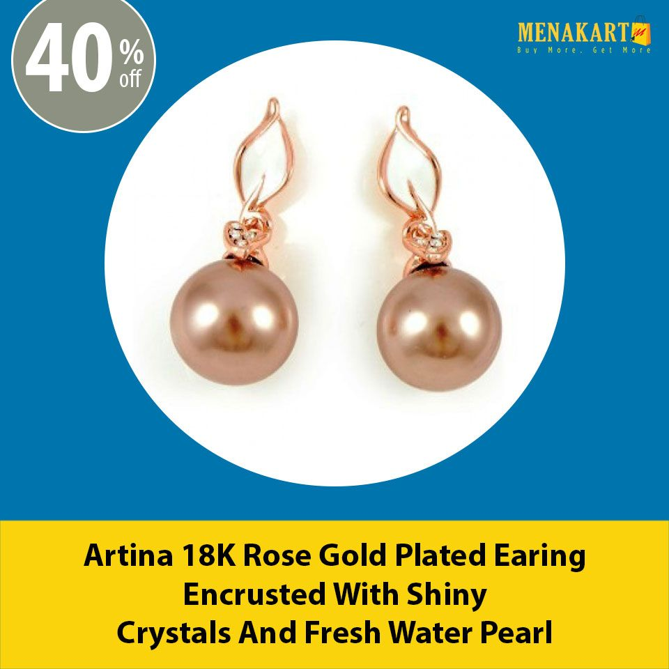 Shop for Artina 18K Rose Gold Plated Earing Encrusted With Shiny