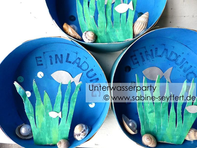 kindergeburtstag mottoparty unterwasserfest einladungskarten selbst gemacht bastelidee. Black Bedroom Furniture Sets. Home Design Ideas