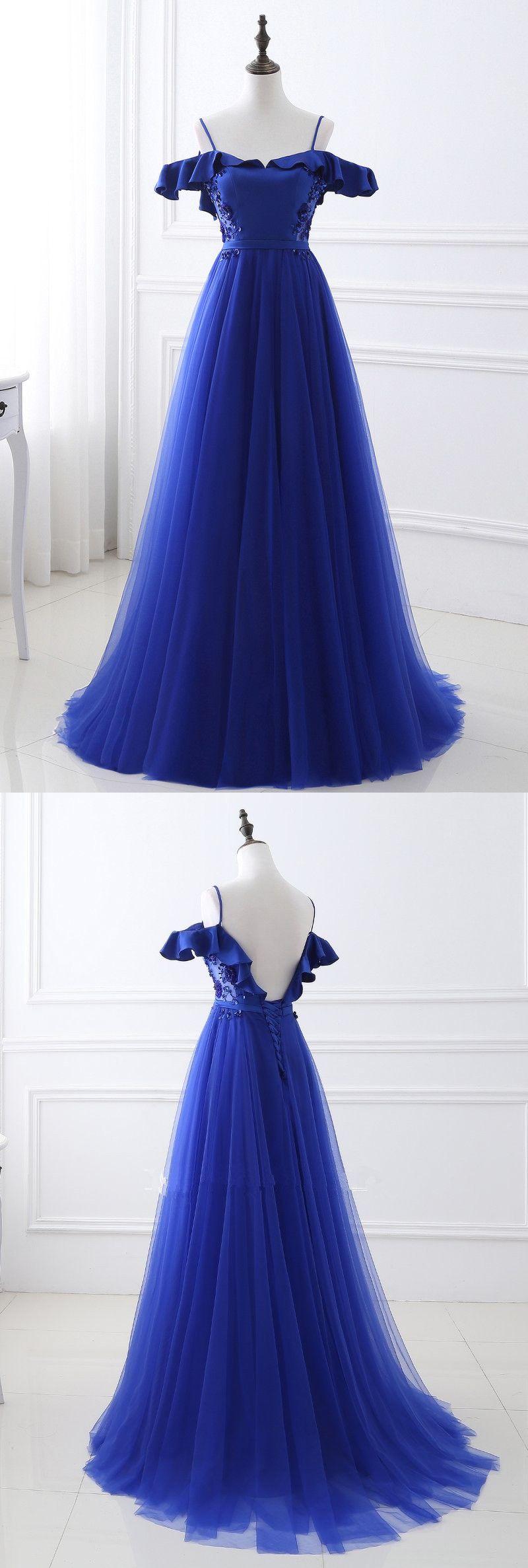 Unique royal blue spaghetti straps prom dressoff the shoulder