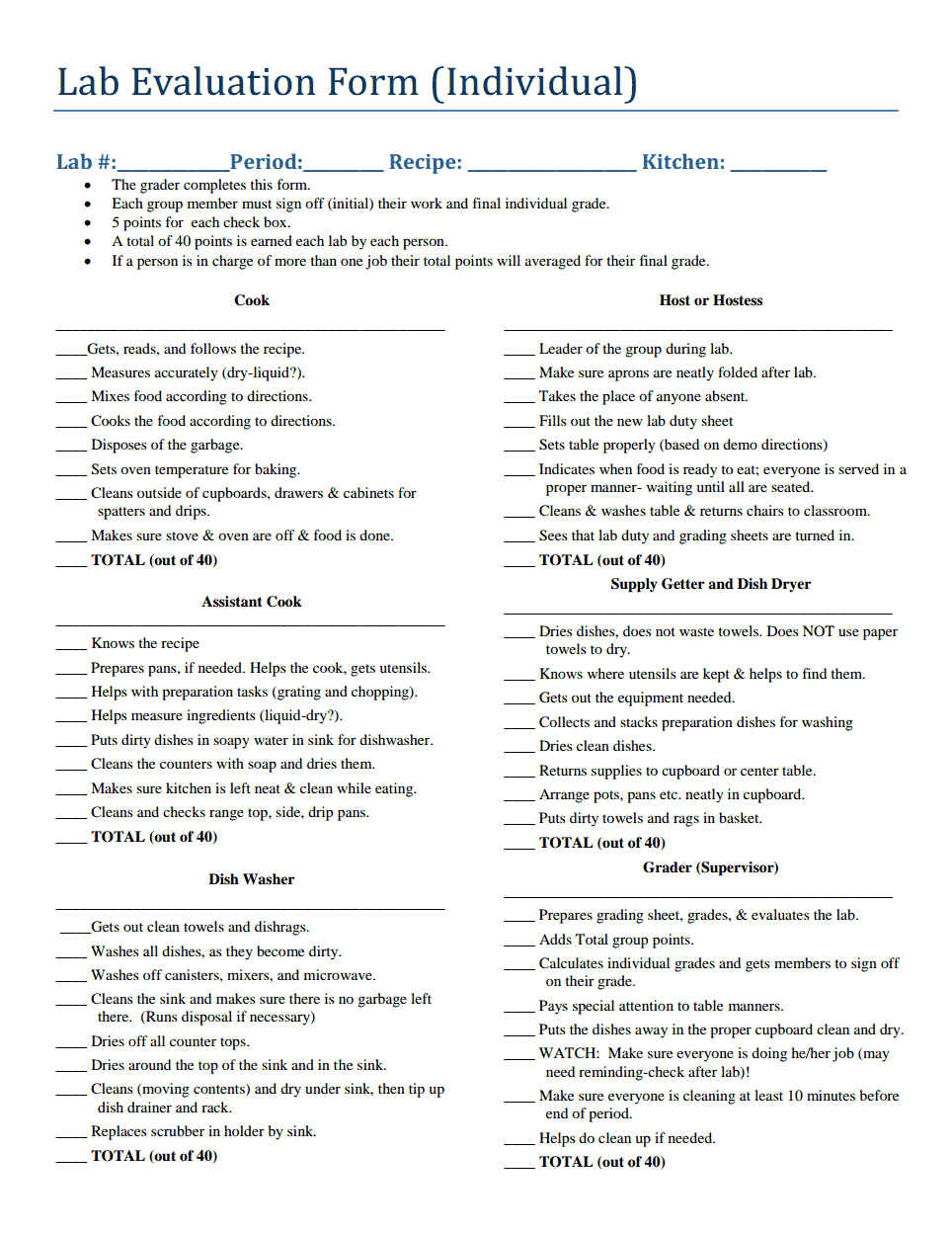 Foods Lab Evaluation Form  Fcs Lab RubricRubrics