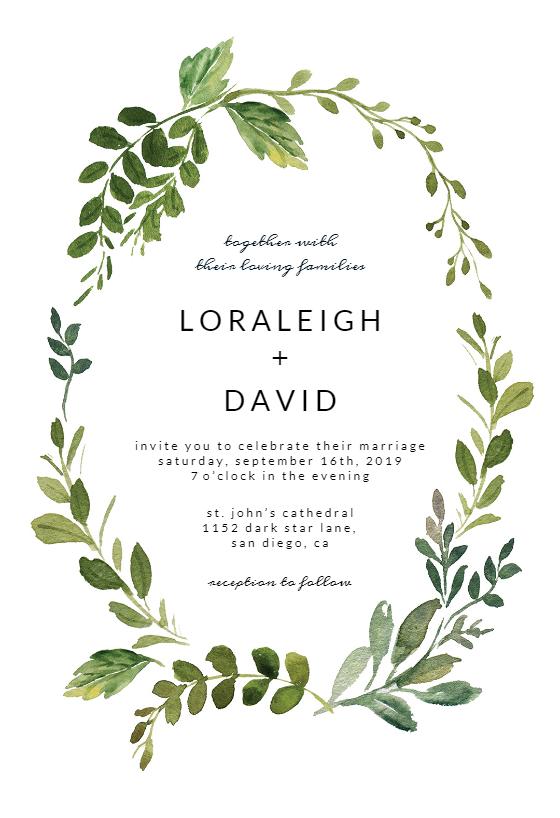 Green Wreath Wedding Invitation Template Greetings Island Free Wedding Invitation Templates Electronic Wedding Invitations Wreath Wedding Invitations