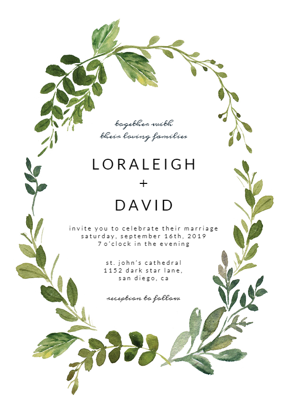 Green Wreath Wedding Invitation Template Greetings Island Free Wedding Invitation Templates Electronic Wedding Invitations Popular Wedding Invitations