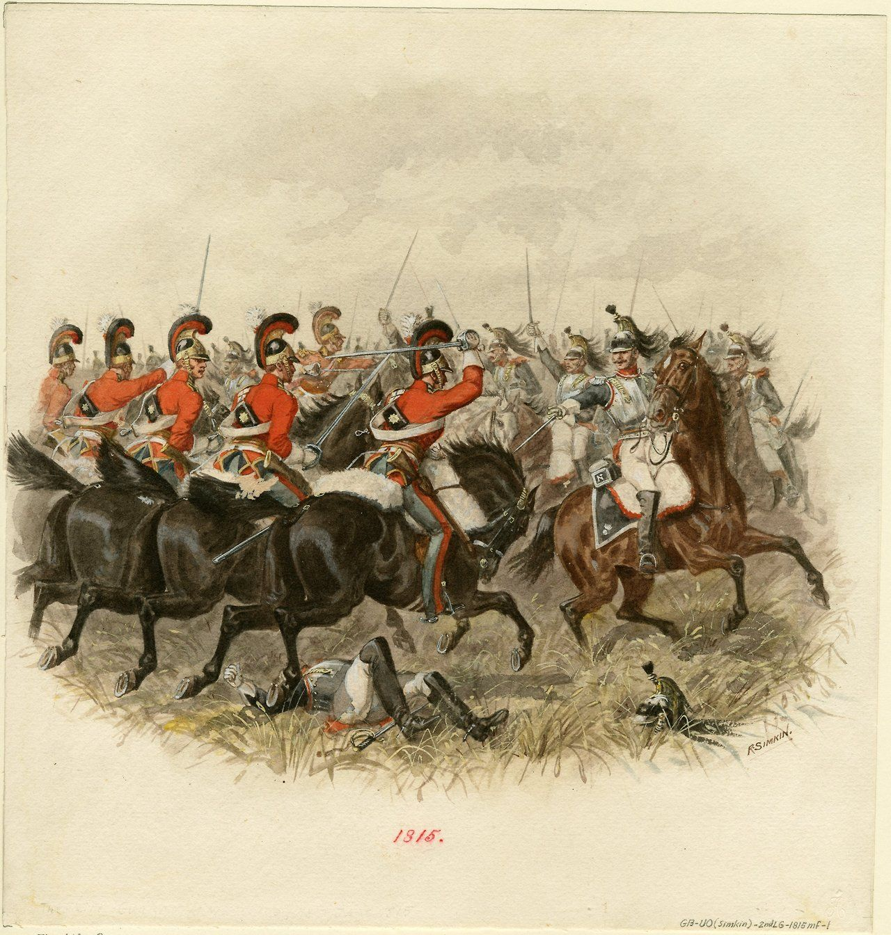 The British 2nd Life Guards at the battle of Waterloo facing French ...