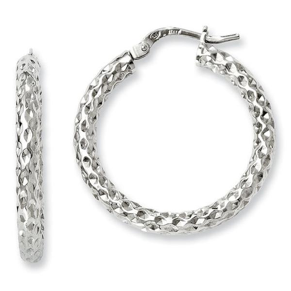 3 0 X 25mm Textured Hoop Earrings In Sterling Silver