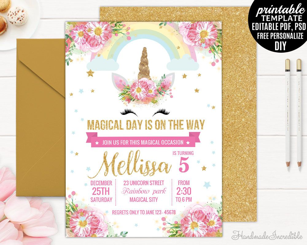 Unicorn Birthday Invitation Template Printable Gold Floral Pink Watercolor Girl Blush Flower Download PDF By