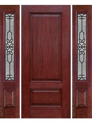 Cherry Two Panel Single Entry Door Sidelites Md Glass Made