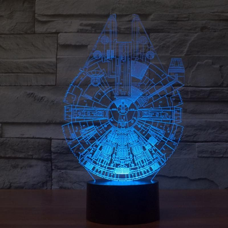 The Millennium Falcon 3d Led Lamp Creates An Optical Illusion That Tricks The Eyes Light Up Your Lives With 3d Led Night Light Star Wars Lamp Star Night Light