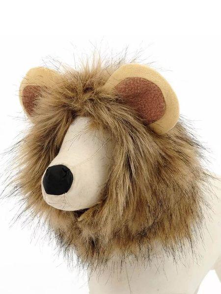 Costume de chien Halloweem Lion Mane perruque Brown fausse fourrure Cat Costumes