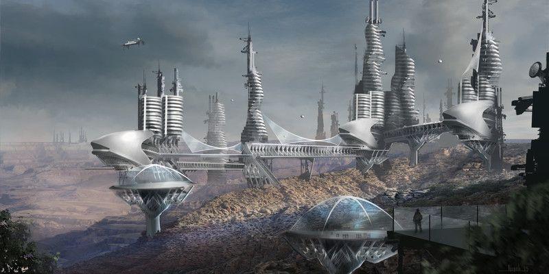 Environmental concept art. Space colony Futuristic city