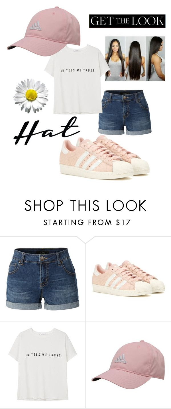 """""""Sadida"""" by lanees ❤ liked on Polyvore featuring LE3NO, adidas, MANGO, GetTheLook and hats"""