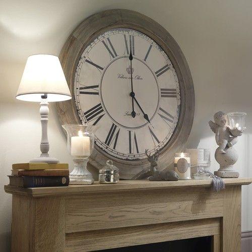 e61082911d005 Horloge en bois blanchi D 74 cm CHALET