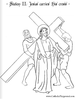 Coloring page for the Second Station of the Cross: Jesus