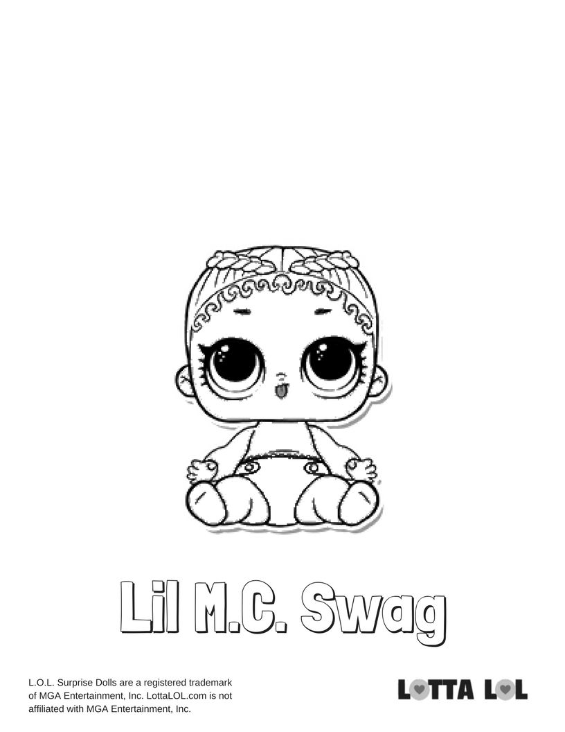 Lil Mc Swag Coloring Page Lotta Lol Coloring Pages Lol Dolls Kids Printable Coloring Pages