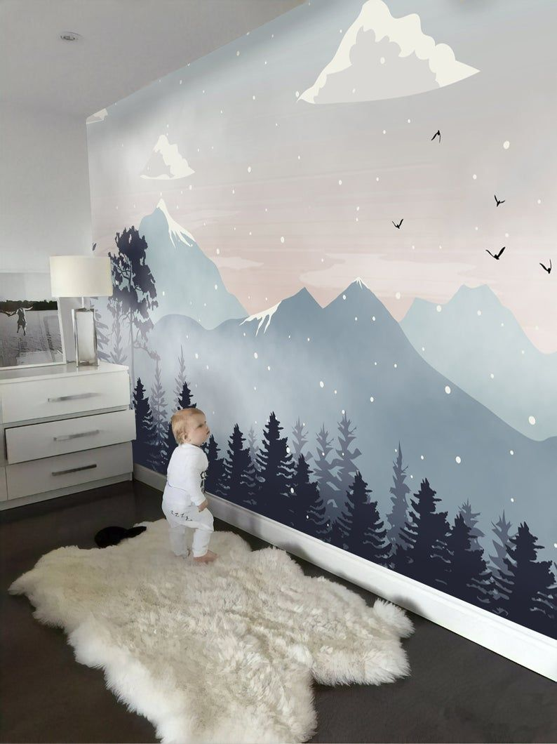 Kids Wallpaper Peel and Stick Self Adhesive Mountain Wall Mural Removable Snowy Mountainscape Wallpaper Natural Wall Mural Childroom Nursery