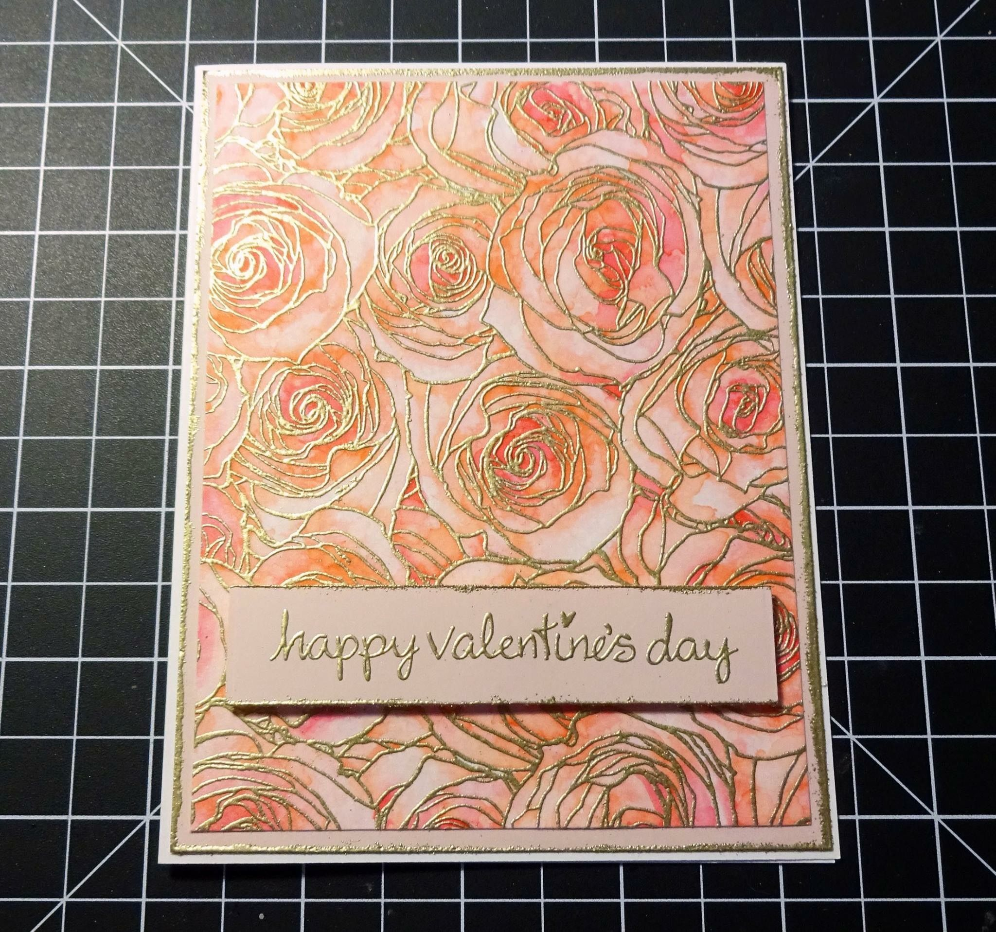 Unknown Artist: My Favorite Things Roses All Over Background; gold embossing powder; watercolor