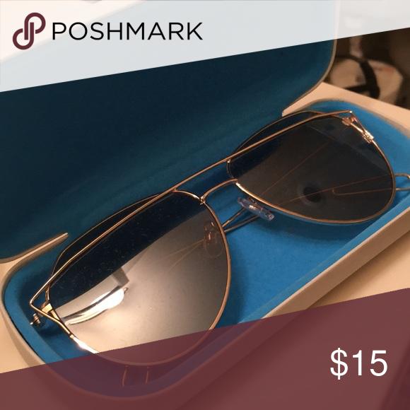 Mirrored lens gold detailed aviator sunglasses   Aviator ...