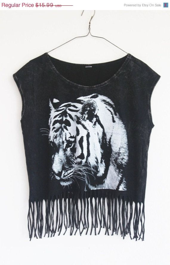 70Off Tiger face Tank top fringe crop top tshirt size by Tshirt99, $4.80