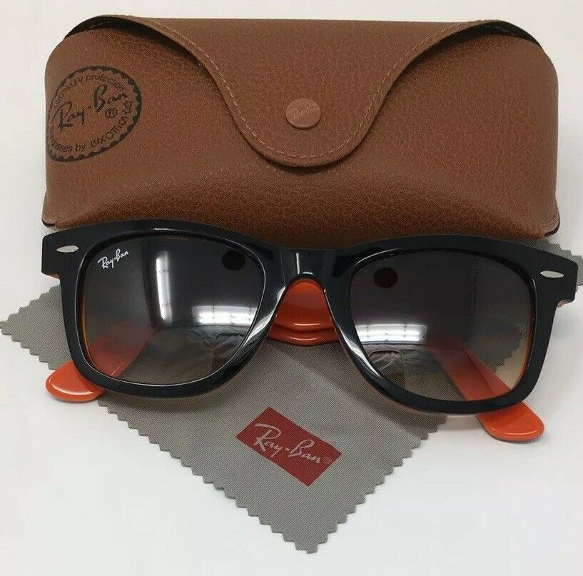 Ray Ban Wayfarer Sunglasses Rb 2140 Black Orange Frame Gradient Lens Fashion C Ray Ban Sunglasses Wayfarer Rayban Sunglasses Clubmaster Clubmaster Sunglasses