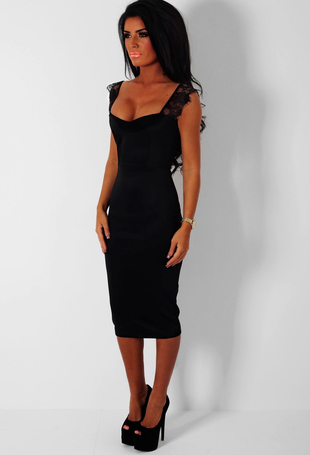 Charisma Black Lace Strap Bodycon Midi Dress | Fashion | Pinterest ...
