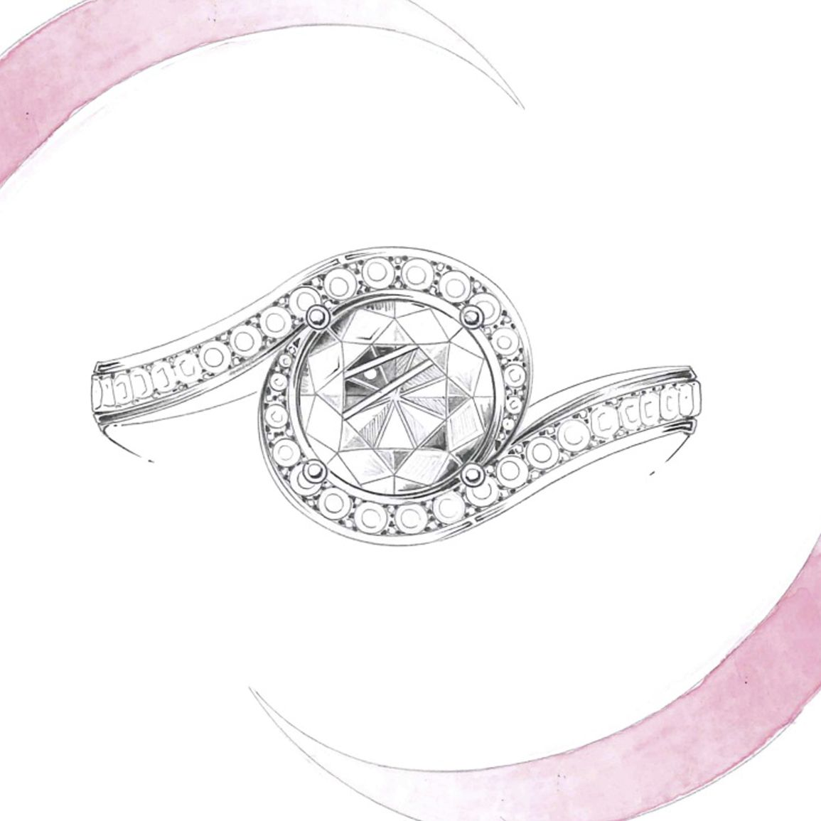 De beers caress sketch gouachés sketches jewelry pinterest de