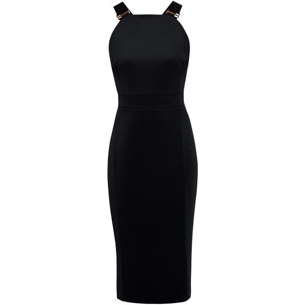 Ted Baker Andice Buckle Detail Bodycon Dress, Black ($225) ❤ liked on Polyvore featuring dresses, bodycon maxi dress, bodycon mini dress, floor length maxi dress, mini dress and metallic dress