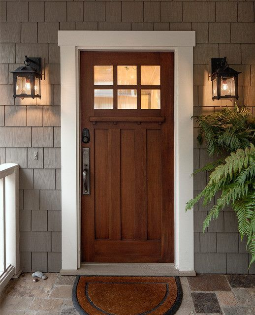 Like this door, molding and porch lights. From Houzz.com | Porches ...